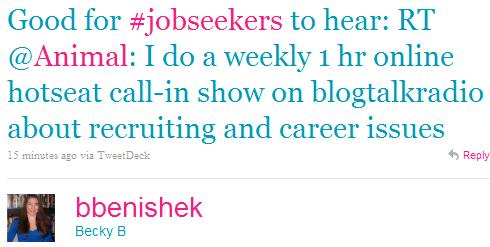 BLOG Twitter - Becky B- Good for #jobseekers to he ..._1301584701136