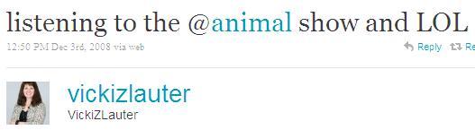 Twitter - VickiZLauter- listening to the @animal s ...SMALL_1036557751-081203