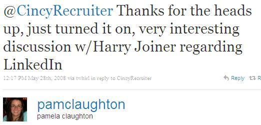 Twitter - pamela claughton- @CincyRecruiter Thanks for ..SMALL._821825660-080528