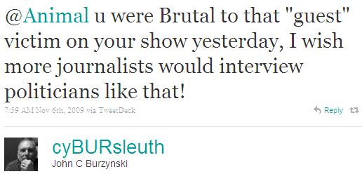 Twitter - John C Burzynski- @Animal u were Brutal to ..SMALL_5477691945-091106