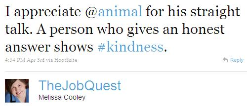 Twitter - Melissa Cooley- I appreciate @animal for h .SMALL._54647909874016256-110403