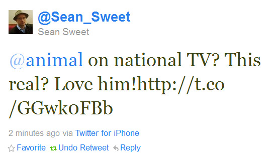 Twitter - @Sean_Sweet- @animal on national TV- Th ..._122404942588821505-111007