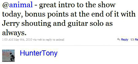 100506 Twitter - HunterTony- @animal - great intro EDITED