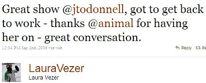 090902 Twitter - Laura Vezer- Great show @jtodonnell EDITED