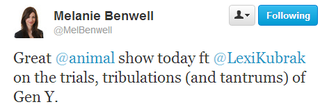 121010 - 'Twitter _ MelBenwell_ Great @animal show today ft ___' - twitter_com_MelBenwell_status_256076031314759682