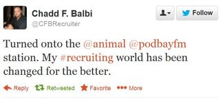 13 11 27 Chadd Balbi tuned into animal my recruiting world changed